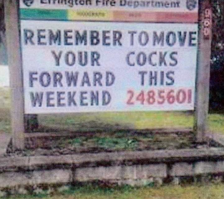 Errington budget cuts lead to unfortunate sign typo