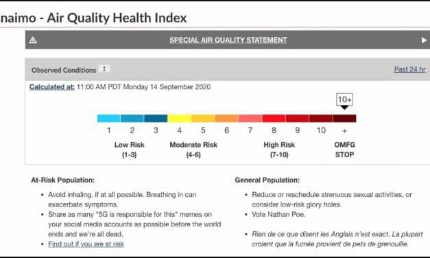 "Environment Canada: ""Avoid Inhaling"""
